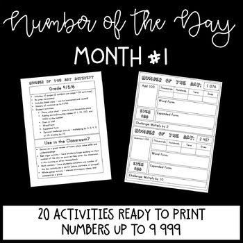 Number of the Day MONTH 1 - (Math Place Value Activity)