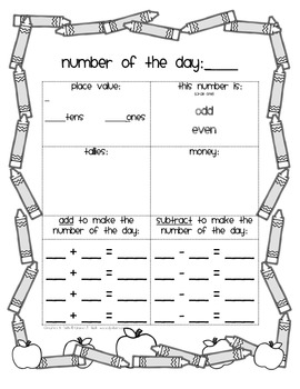 Number of the Day Math Journal Pages for Number Talks & Centers-  Common Core
