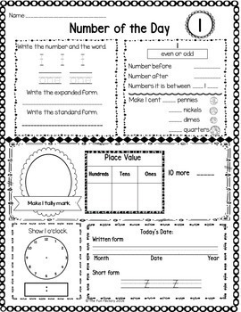 Number of the Day~Math Warm-Up~1st Grade~FREEBIE!!  No Prep-Just Print