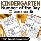 Kindergarten Math Number of the Day Number Sense Morning Work November