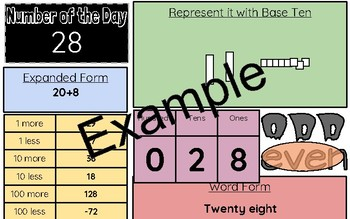 Number of the Day Number of the Week Printable or Online Manipulative
