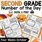 Digital Google Slides™ Number of the Day Second Grade October