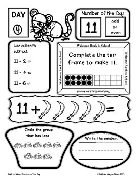 Number of the Day First Grade Back to School Math Pirate
