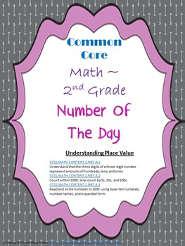 Number of the Day- Place Value Assessment Packet