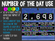 Number of the Day Pocket Chart Black and White Chalkboard