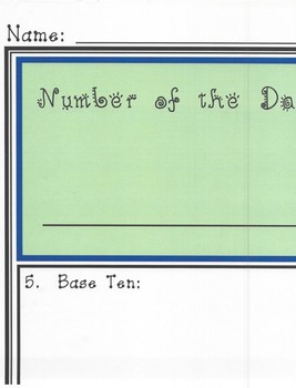 Number of the Day Poster 3rd-4th Grade