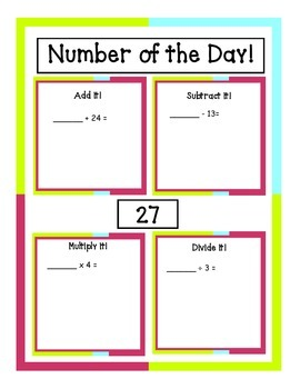 Number of the Day: Practice with the 4 Operations at 3 Different Levels