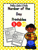 Number of the Day Printables for 1-10
