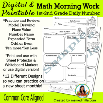 Number of the Day Review- Math morning work