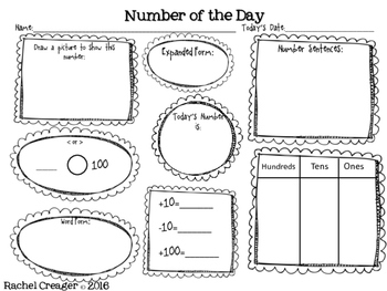 Number of the Day Second Grade Common Core