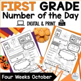 Place Value Worksheets First Grade Number of the Day Number Sense October