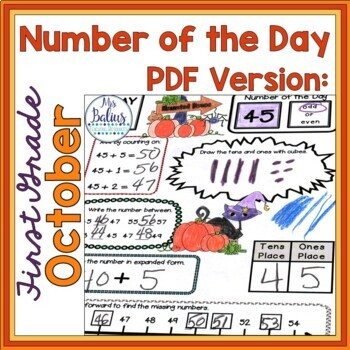 Halloween Math Place Value Morning Place Value First Grade Number of the Day