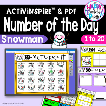 Number of the Day *Snowman* Interactive Promethean Board Flipchart Printable