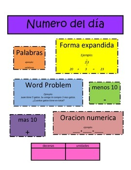 Number of the Day- Spanish Center- Daily 5