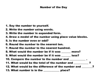 Number of the Day- Template and 2 samples