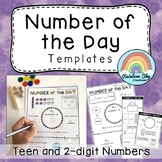 Number of the Day Templates {Teen and 2 digit numbers}
