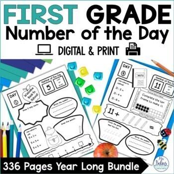 Digital Number Sense GOOGLE SLIDES™ Number of the Day First Grade Bundle