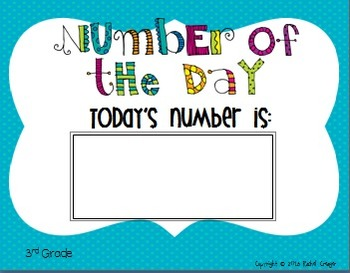 Number of the Day Third Grade Bulletin Board