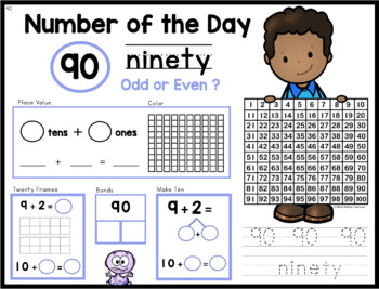 Number of the Day - Unit 12 - First Grade Math Paperless Warm-Up Lessons