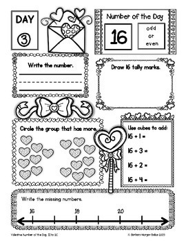 Number of the Day (Valentine *FREEBIE* Numbers 11-20} Kindergarten - First Grade