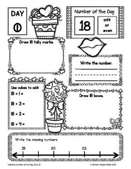 Number of the Day (Valentine *FREEBIE* Numbers 11-20} Kindergarten - First Grade