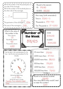 Number of the Day / Week Worksheets