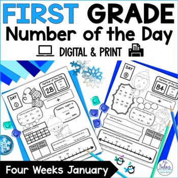 Winter Math First Grade Place Value Number of the Day New Year