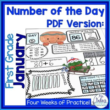 Digital Google Slides™ Place Value Number of the Day First Grade January
