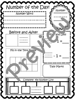 Number of the Day Work Page With Large Matching Numbers for Classroom Display