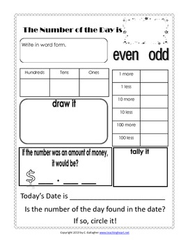 Number Of The Day Worksheet: Number of the Day Worksheet FREE by Teaching Heart Colleen    ,