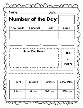Number of the Day Worksheet (NBT)