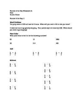 Number of the Day Worksheet - total package