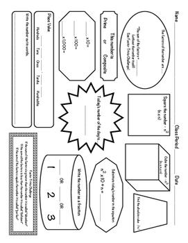 Number of the Day Worksheet:Upper Middle School & Algebra 1