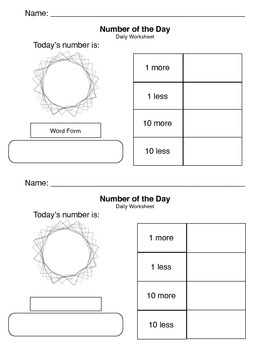 Number of the Day Worksheets