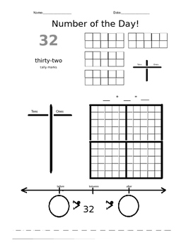 Number of the Day Worksheets 31 to 60