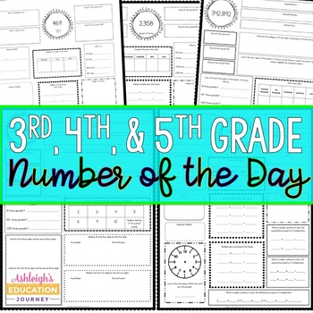 Number of the Day for 3rd and 4th Grade by Ashleigh | TpT
