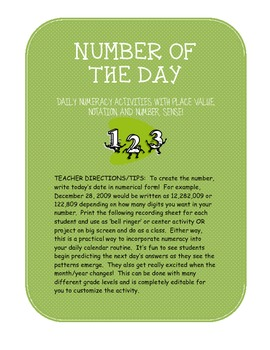 Number of the Day:  numeracy, place value, and notation using the date