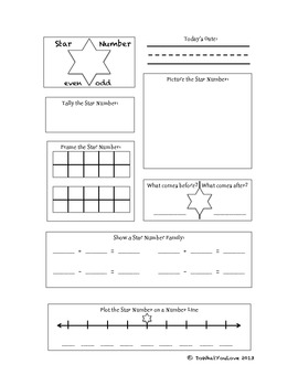 Number of the Day or Star Number Math Journal for 1-20