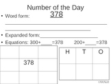 Number of the Day recording sheets