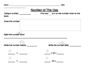 Number of the Day - up to 100, greater/less than, +/- 10