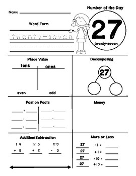 Number of the Day with Place Value, Number Bonds, and 10 More or Less