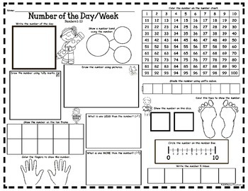 Number of the Day/Week Activity Pages