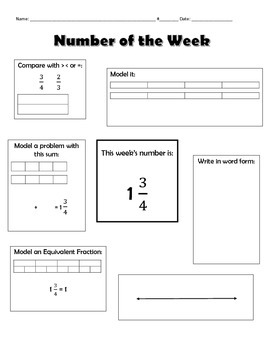 Fourth Grade Number of the Week: Fractions (5 pages)