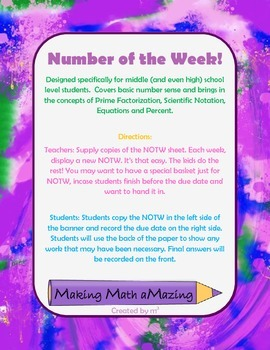 Number of the Week - Middle Grades