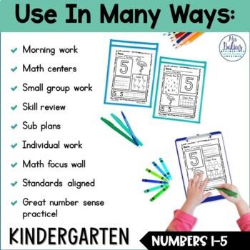 Pre-Kindergarten Math Numbers 1-5 Number of the Week Zoo Theme