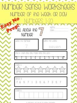 Number of the Week or Day 1-20: Number Sense NO PREP Printable Worksheets