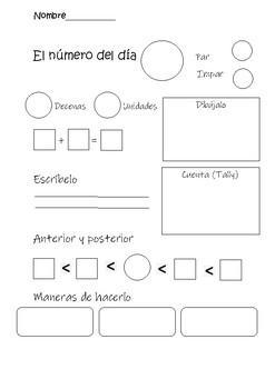 Number of the day- Numero del dia- espanol
