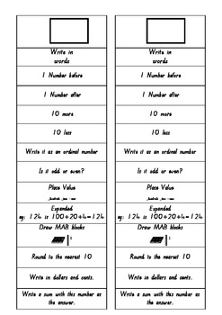 Number of the day chart or worksheets