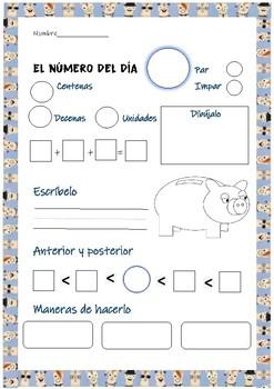 Number of the day- espanol- numero del dia