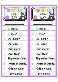 Number of the day strips | Differentiated | Years 1 - 5